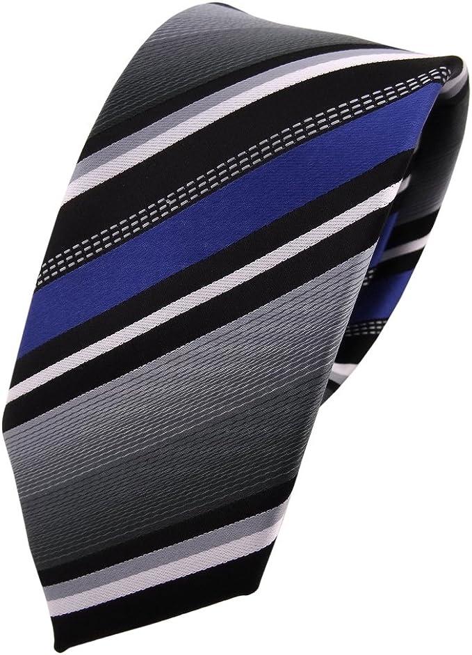 TigerTie - corbata estrecha - azul plata gris blanco negro rayas ...