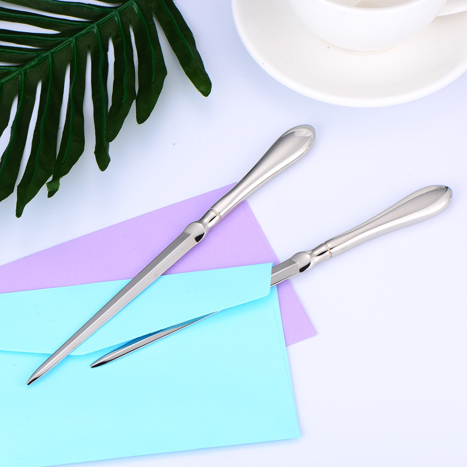 TecUnite 2 Pack Letter Opener Envelope Opener Knife Metal Letter Opening Knife, 9 Inches (Silver Color) by TecUnite (Image #7)