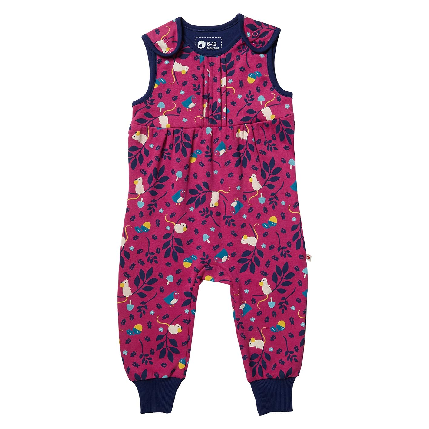Piccalilly Organic Cotton Baby Girls Deep Pink Mouse Print Dungarees