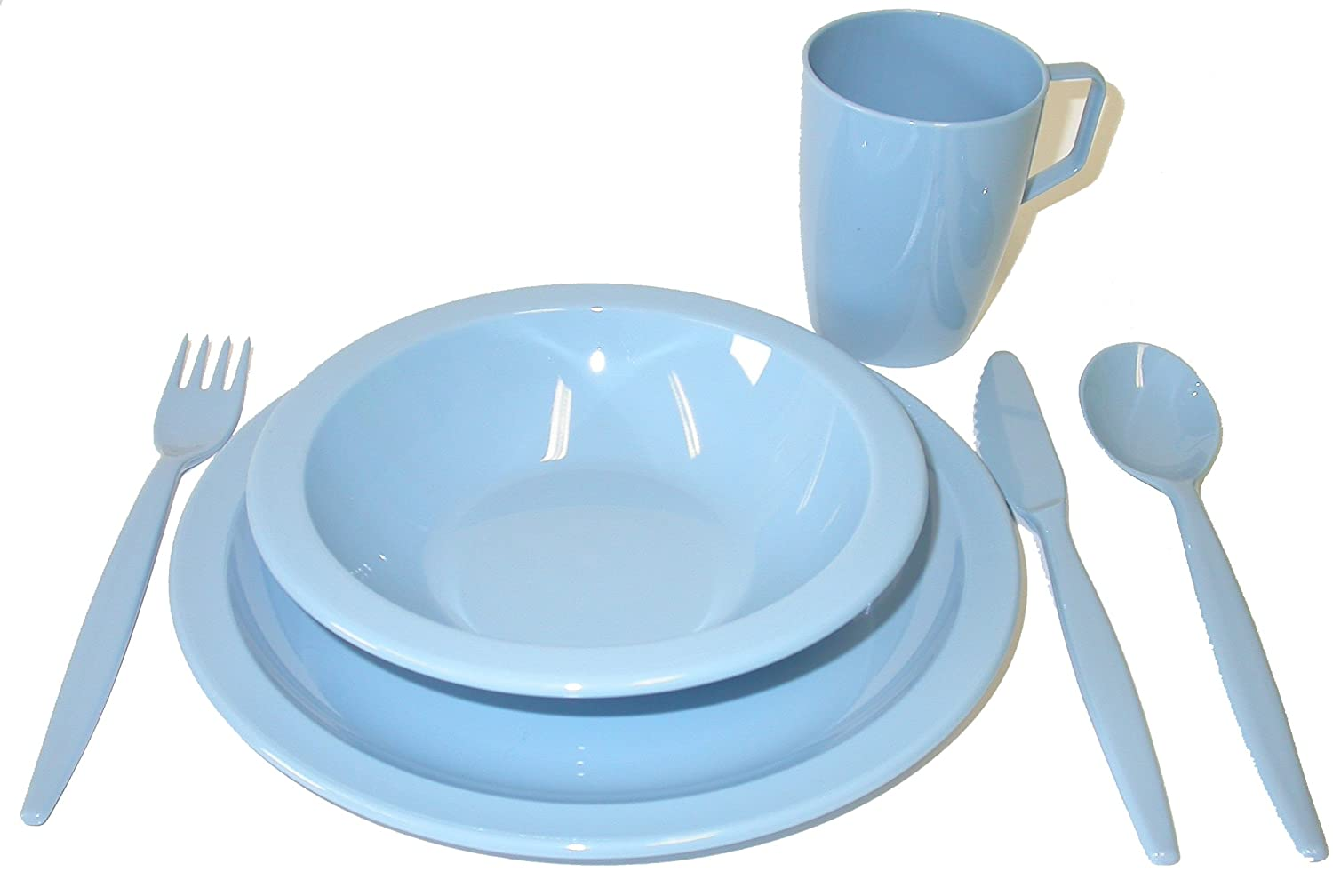 Camping Tableware Set - Plate, Bowl, Beaker and Cutlery - Summer Blue Harfield Components Ltd H8504