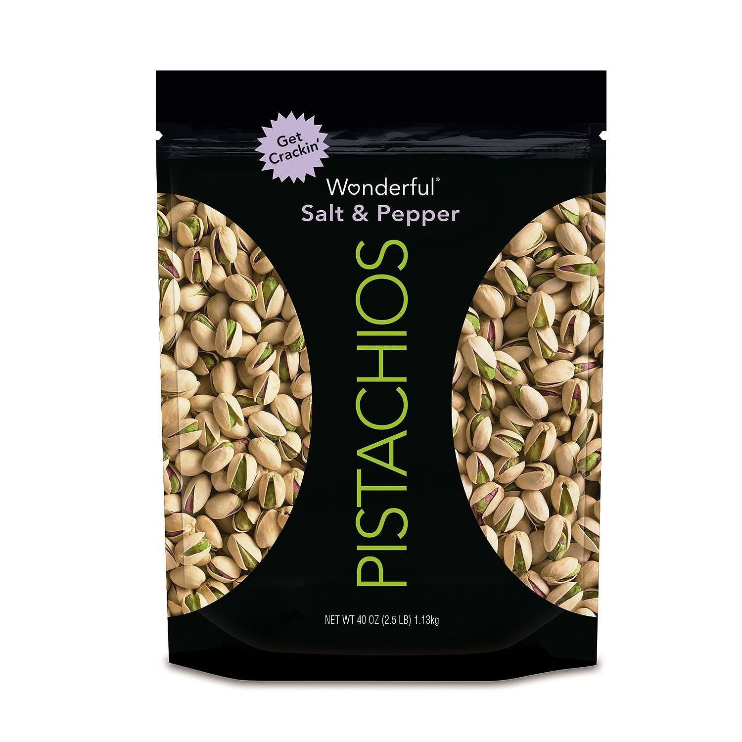 Wonderful Salt and Pepper Pistachios, 40 Ounce, 2.5 Pounds by Wonderful