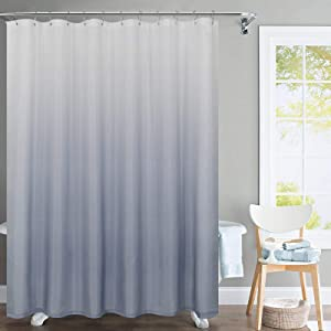 jinchan Ombre Shower Curtain Grey for Bathroom Waterproof Gradual Color Design Fabric Shower Curtain Hooks Included with Rings 72 inch Long One Panel