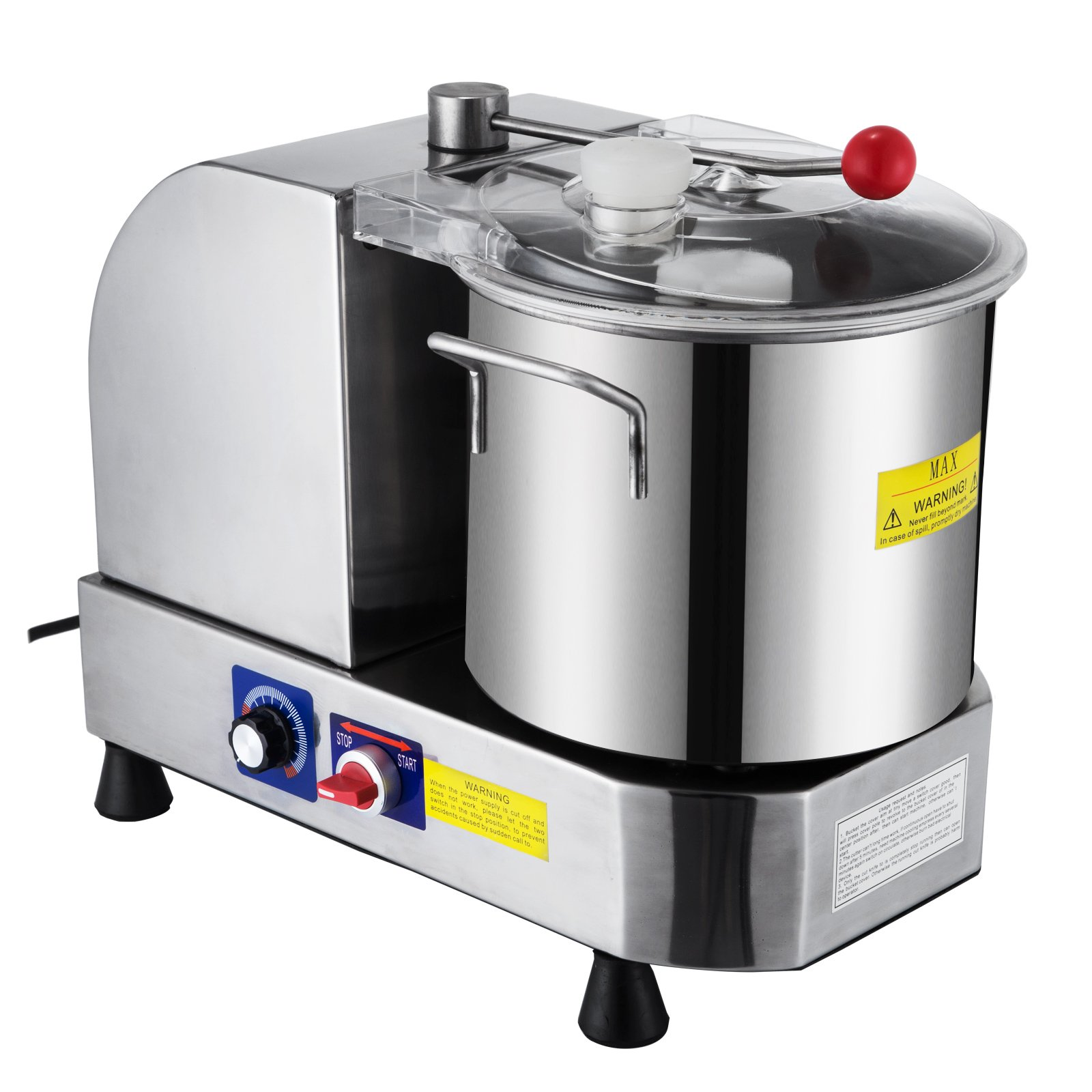 BestEquip 9L Food Cutter Mixer Machine Stainless Steel Commercial Double Metal Blades Food Processor for Meat Fruit Vegetables Processing (9L)