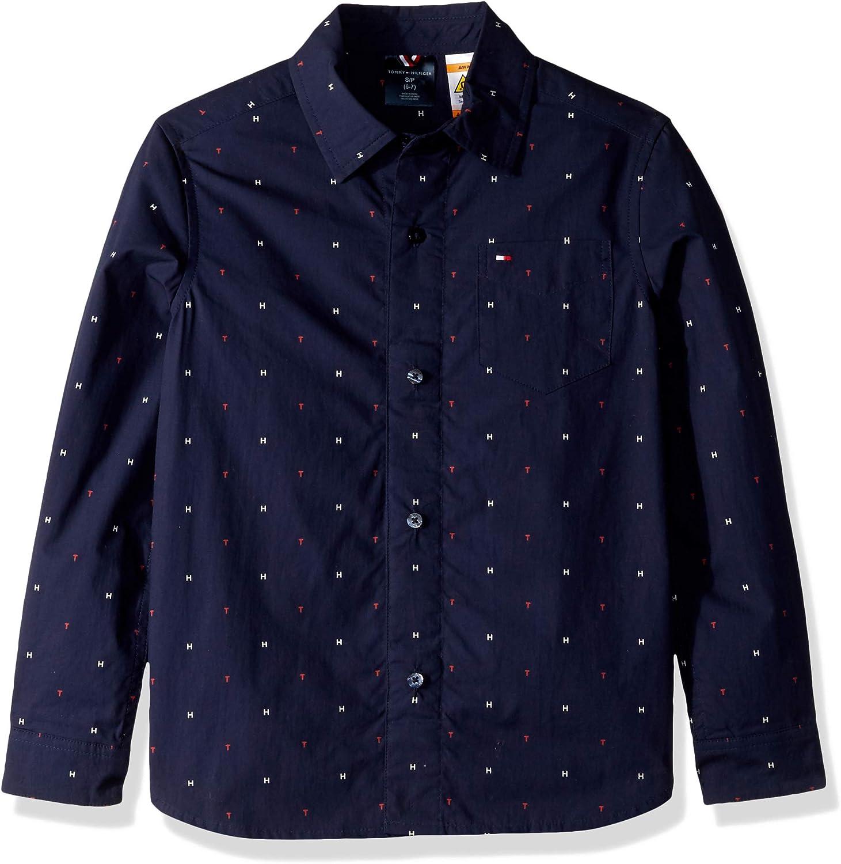 Tommy Hilfiger Camisa con Botones magnéticos adaptables para niños - Azul - X-Large: Amazon.es: Ropa y accesorios
