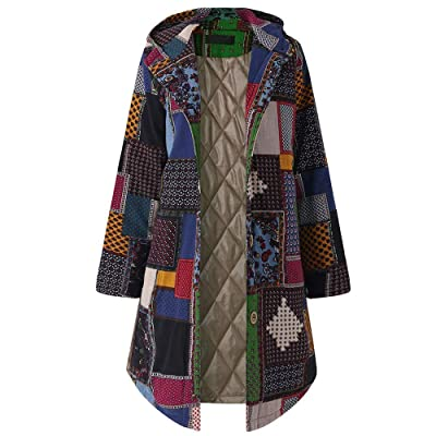 ZHRUI Abrigo de algodón de la Vendimia de Las Mujeres, señoras de Manga Larga con Capucha Chaqueta Moda Vintage Invierno cálido Parka para Exterior Outwear Abrigo Cardigan Top: Hogar