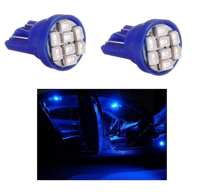 TecnoStore 2 LUCI DI POSIZIONE LED BLU XENON T10 8 SMD lampadina auto 6000K 12V W5W caR t 10 ns