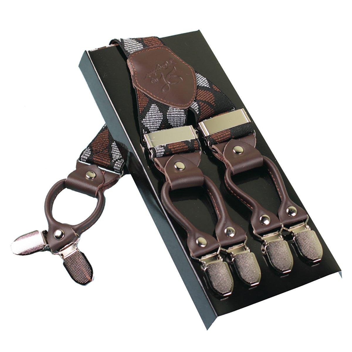 Bretelles Homme Larges 6 clips Brace Men KANGDAI Y Retour 10 Couleurs Suspensions ajustables élastiques et durables Clips en métal fort