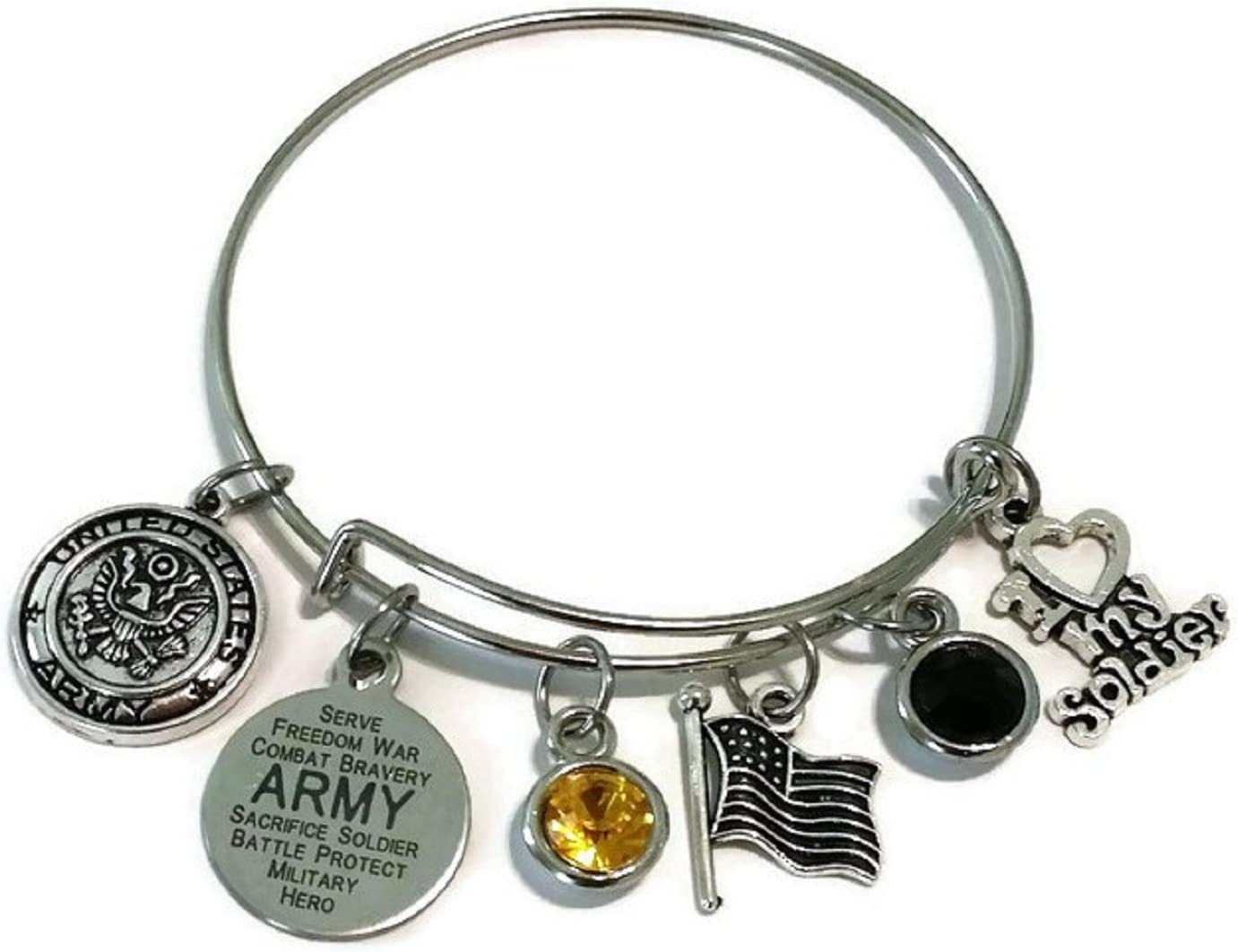 Army Sister Bracelet Army Jewelry Army Mom Bracelet Army Bangle Bracelet Army Wife Bracelet Army Girlfriend Bracelet Kits Kiss Army Bracelet