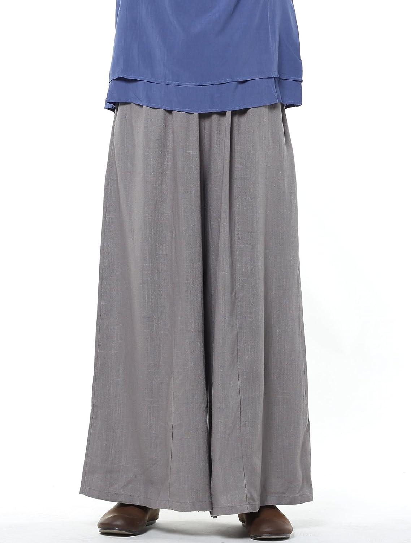 B01I4KANNG Mordenmiss Women\'s Linen Wide Leg Elastic Waistband Pants with Pockets 712b8xyzeHL