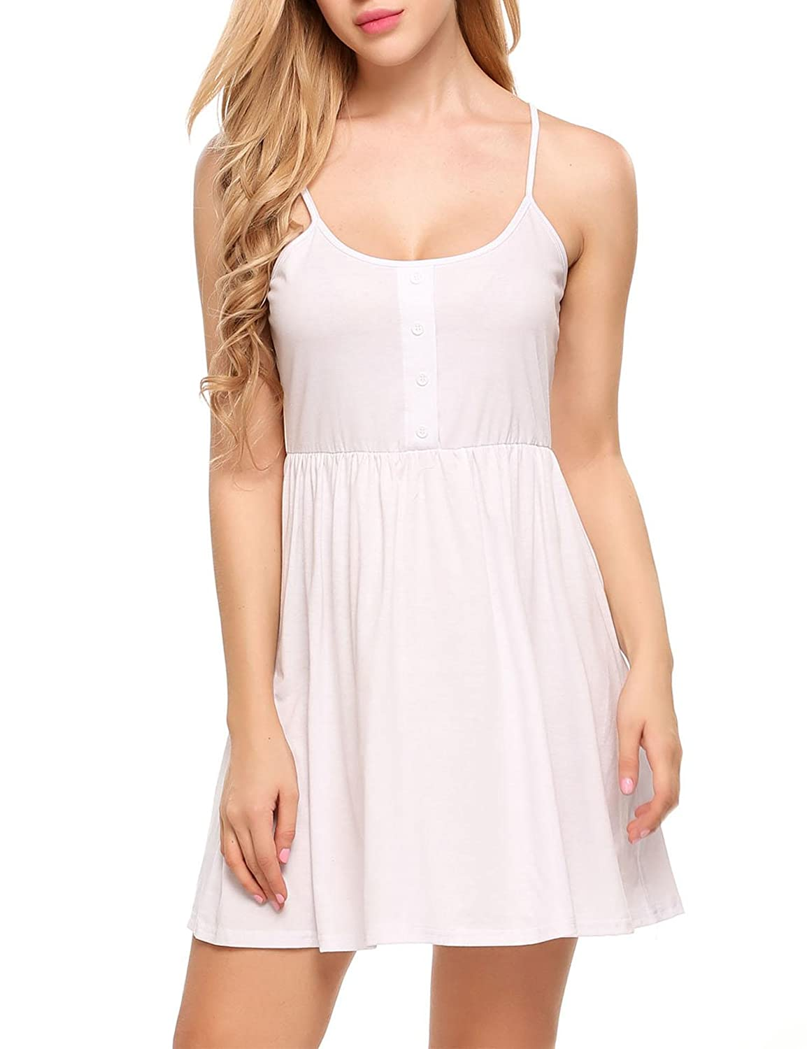 b5a7c7fe1b85f ... sleeveless, high waist with button placket detail, A-Line, scoop neck,  above knee length, solid color. Basic and classy design cami slip dress, ...