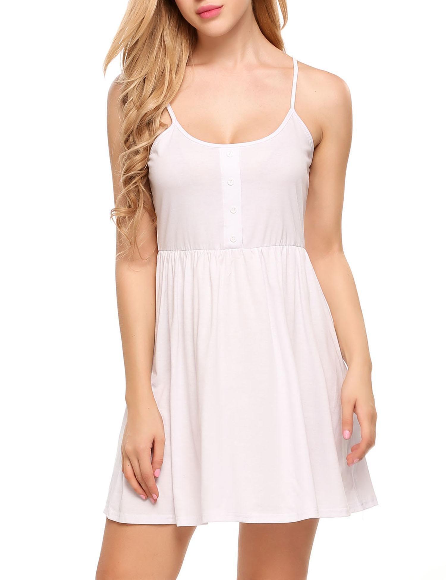 Beyove Girls Jersey Camisole Short Tank Top Spaghetti Strap Mini Dress (White, Small)