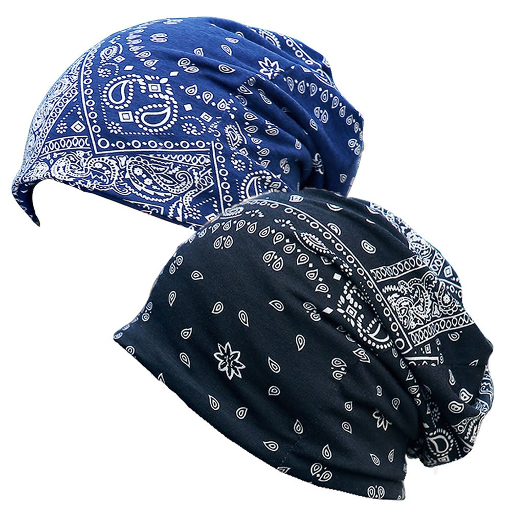 Paladoo Print Flower Slouchy Beanie Chemo Hat Cap Infinity Scarf for Women (2pack Black+Navy Blue)