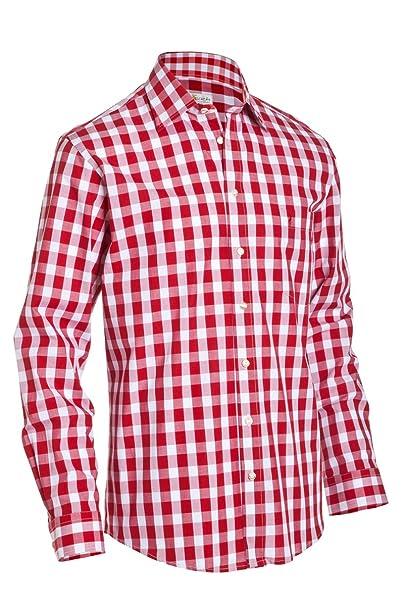 ALM Sach Hombre Traje típico de Regular Fit Camisa LF140 Rojo Rojo ...