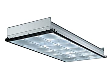 Lithonia Lighting PT3 2MV 3 Light 32W T8 Fluorescent Contractor Select  Parabolic Troffer With Two