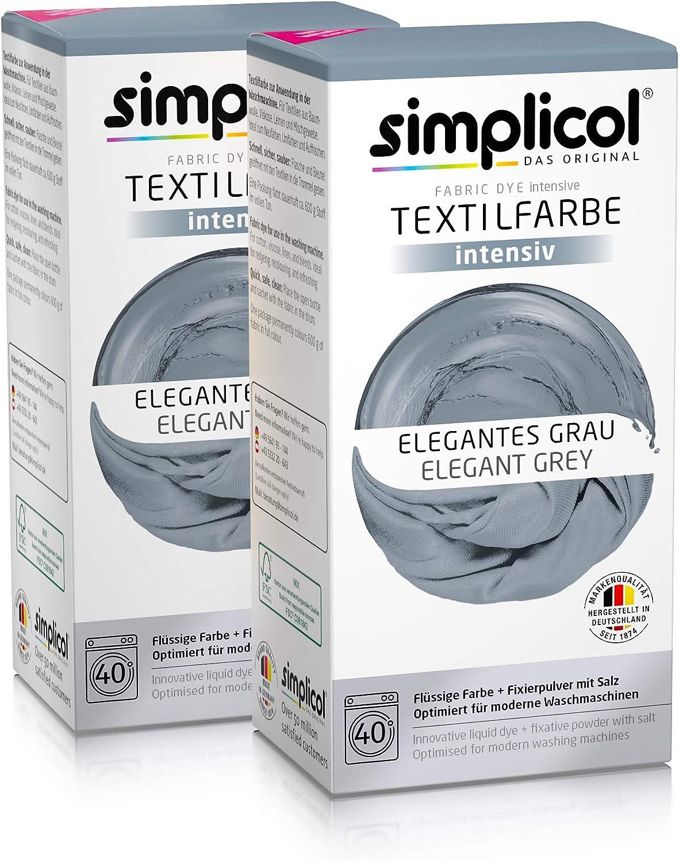 Simplicol Kit de Tinte Textile Dye Intensive Gris: Colorante para Teñir Ropa, Tejidos y Telas Lavadora, Contiene Fijador para Colorante Líquido, Anti ...