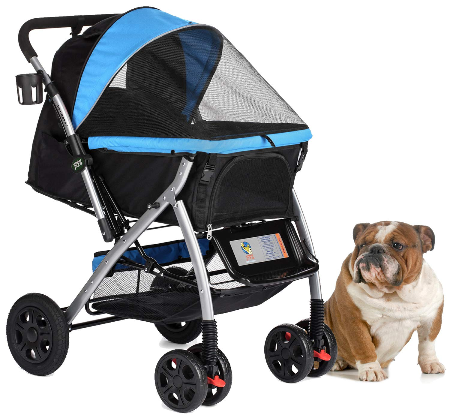HPZ Pet Rover Premium Heavy Duty Dog/Cat/Pet Stroller Travel Carriage with Convertible Compartment/Zipperless Entry/Reversible Handlebar/Pump-Free Rubber Tires for Small, Medium, Large Pets 1