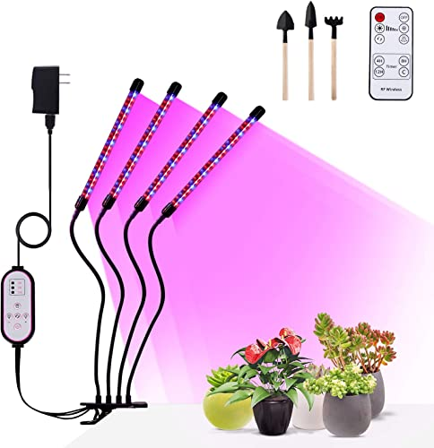 New Full Spectrum Grow Light,48W 96LED Three Plant Spectrum,Red Blue Warm Spectrum,Meet Multiple Plant Growth,4H 8H 12H Cycle Timer,10 Levels Dimming,Indoor Plant Light