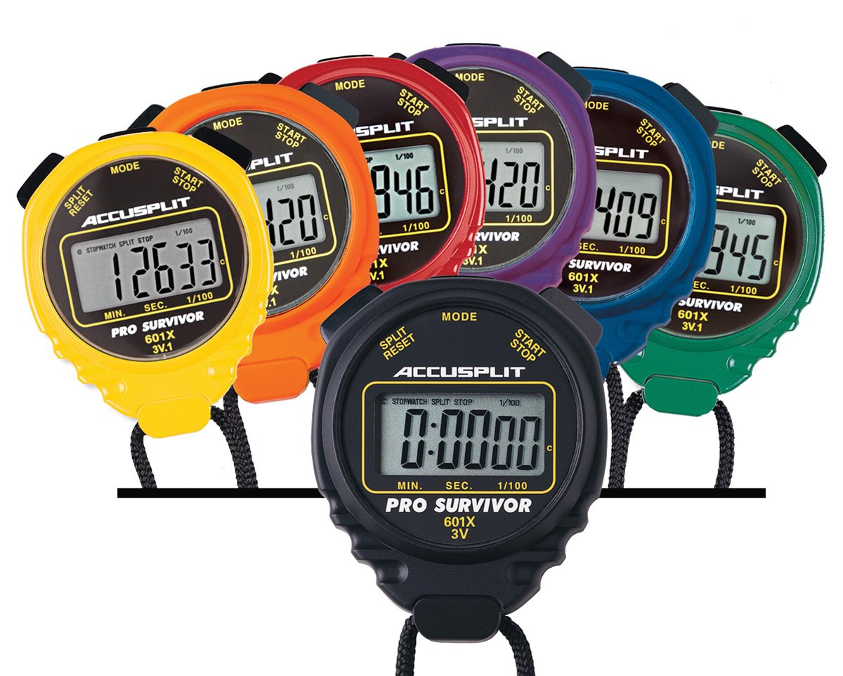 ACCUSPLIT A601X Pro Survivor Rainbow Plus One Stopwatches, Assorted colors, Pack of 7 by ACCUSPLIT