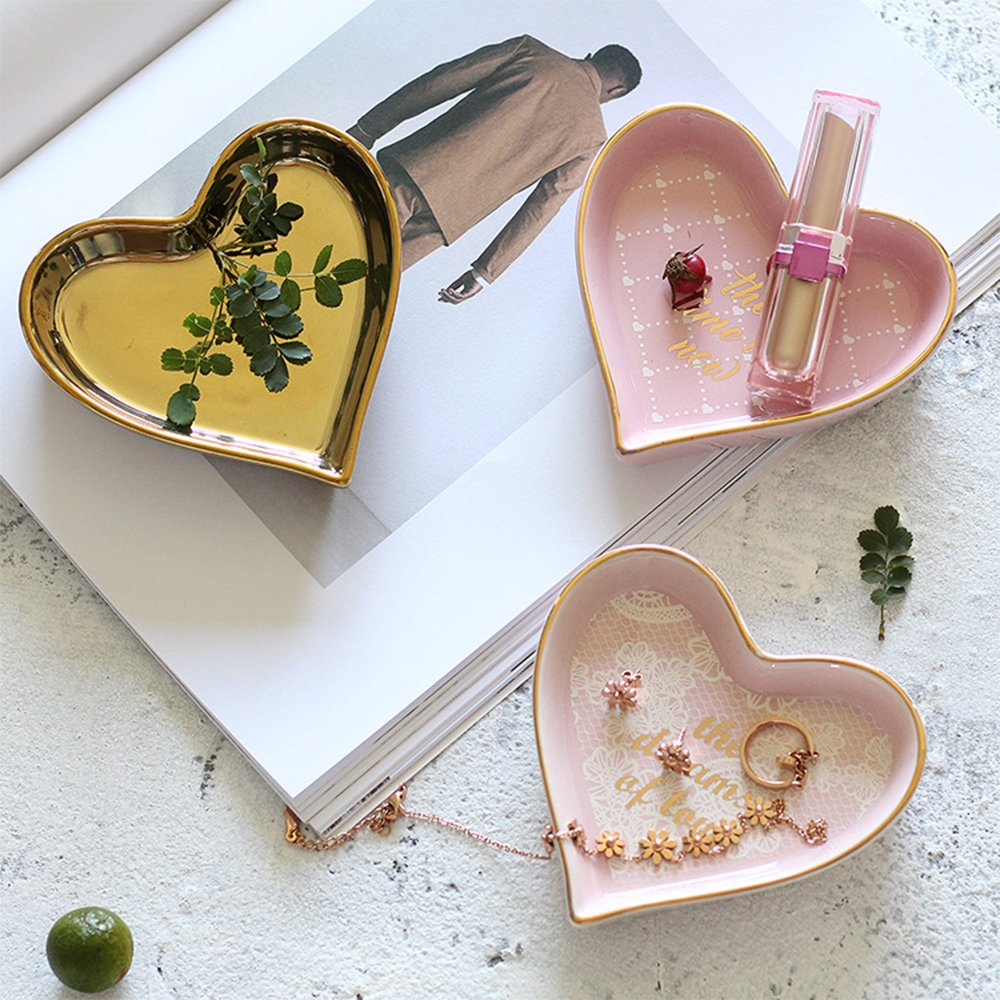 Ceramic heart shape ring dish holder Jewelry tray trinket holder for Home Decor Dish Wedding Birthday Xmas Gift (brass color) by QILICHZ (Image #3)