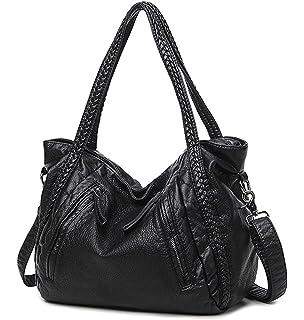 5f11c047f6dd Mn Sue Black Large Slouchy Soft Leather Women Handbag Braided Shoulder Tote  Bag Lady Hobo Satchel