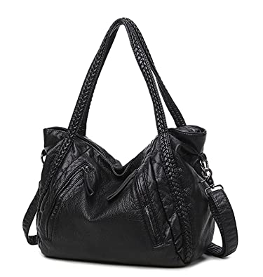 Amazon.com  Mn Sue Black Large Slouchy Soft Leather Women Handbag Braided Shoulder  Tote Bag Lady Hobo Satchel  Shoes 46eb18c9bd054