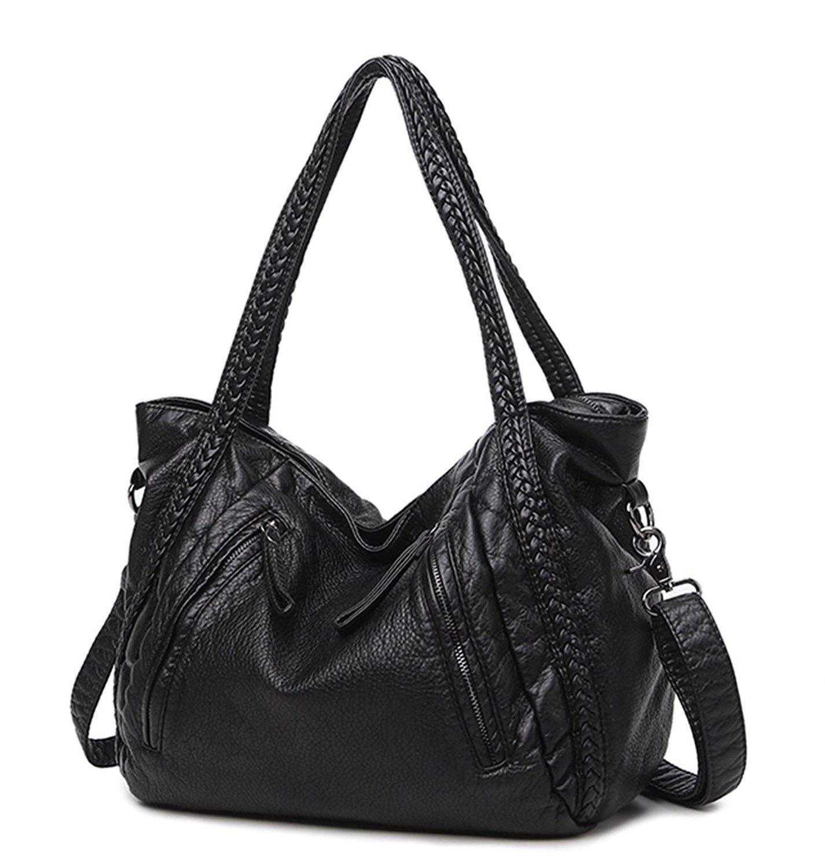 Mn&Sue Black Large Slouchy Soft Leather Women Handbag Braided Shoulder Tote Bag Lady Hobo Satchel