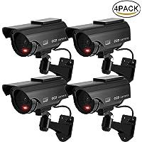 DRROT 4 en 1 Kit Caméra Factice Fake de Sécurité Caméra Dôme CCTV avec Flash de Lumière