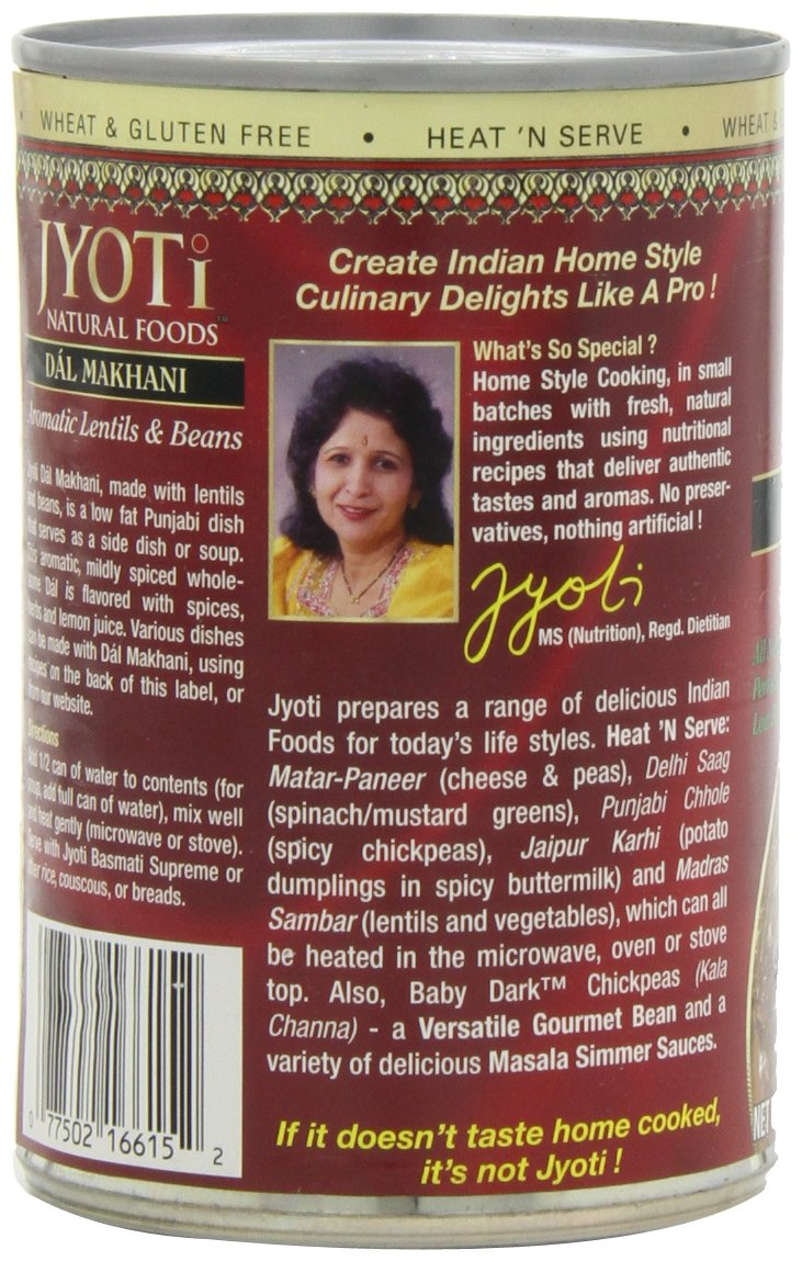 Jyoti Natural Foods Dal Makhani, Aromatic Lentils and Beans, 425 gram Cans,  (Pack of 12) by Jyoti (Image #7)