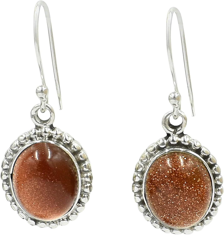 Silvesto India 925 plata de ley natural marrón piedra solar colgante pendiente gota para mujer