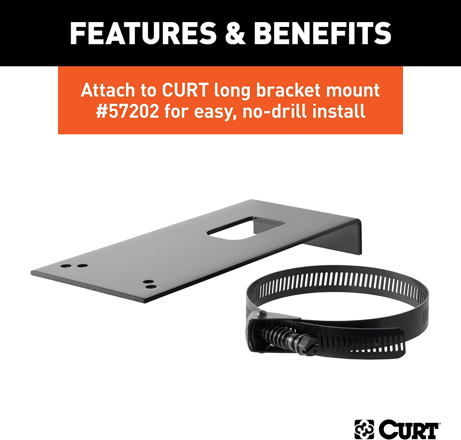 Black CURT 58520 Vehicle-Side Trailer Wiring Harness Mounting Bracket for 7-Pin USCAR Factory Socket on Ford GM or Nissan