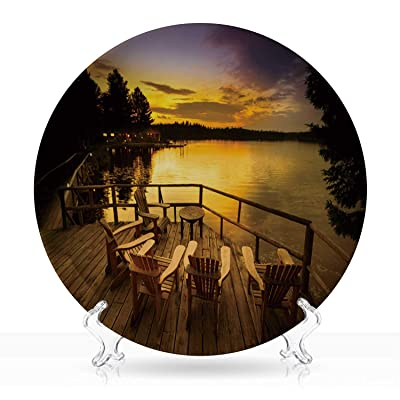 """Adirondack chairs sitting on a wooden porch facing a lake at sunset,Dishes 044918 Deocoration 7""""Inch: Kitchen & Dining"""