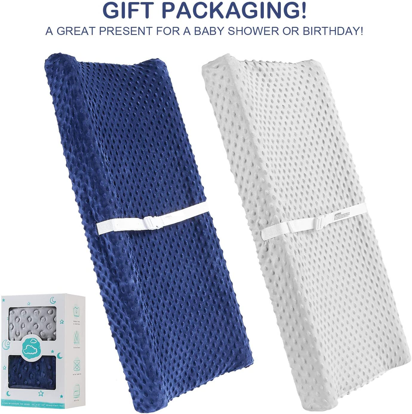 2 Pack Changing Pad Cover AceMommy Ultra Soft Minky Dots Plush Changing Table Covers Breathable Changing Table Sheets Wipeable Diaper Changing Pad Cover for Infants Baby Boy Blue//Grey