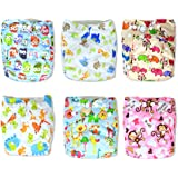 InnooBaby Premium Baby Cloth Diapers Unisex Prints, 6 All in One Size Diapers with 12 Inserts, Absorbent and No Leaks, Soft for Skin, Reusable and Washable