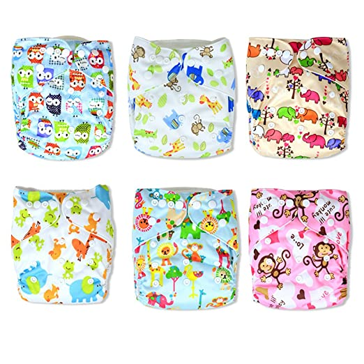 Trendy Owl Print Cloth Pocket Diapers 6 Pack with 12 Inserts
