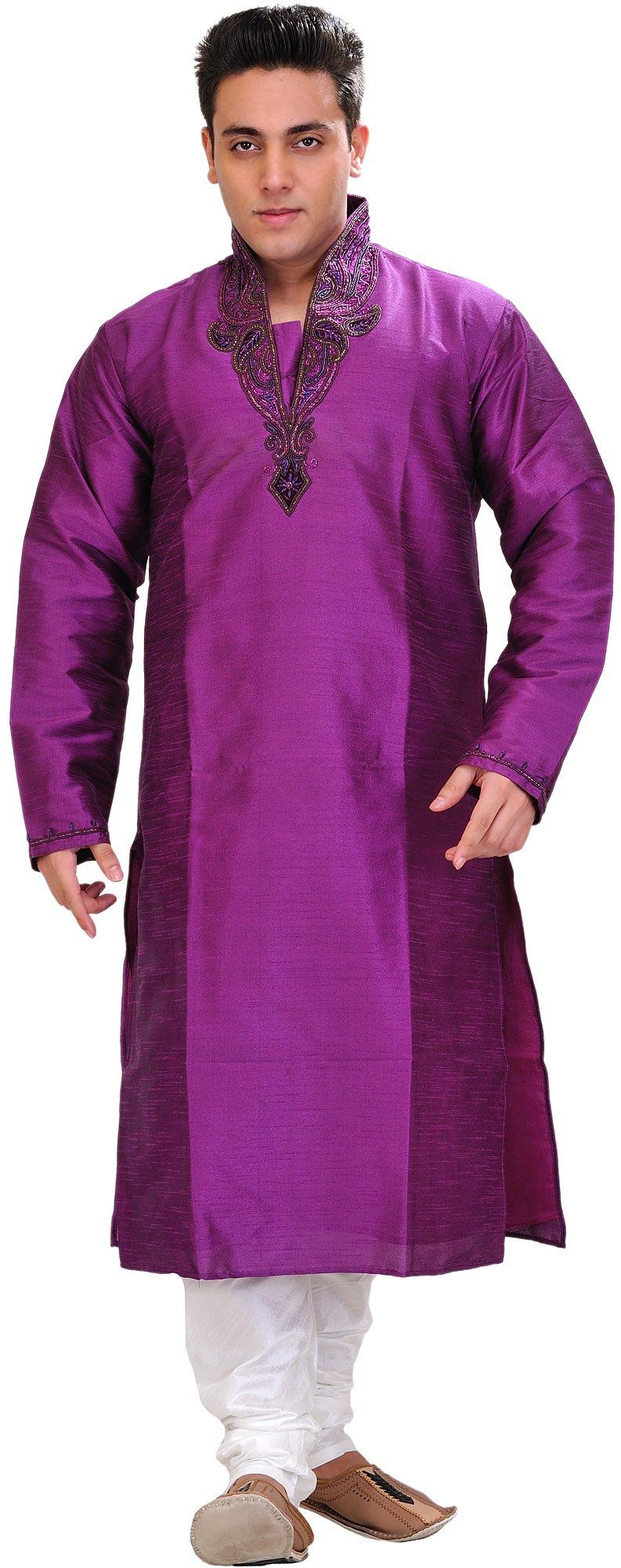 Exotic India Bright-Violet Wedding Kurta Pajam - Purple Size 40