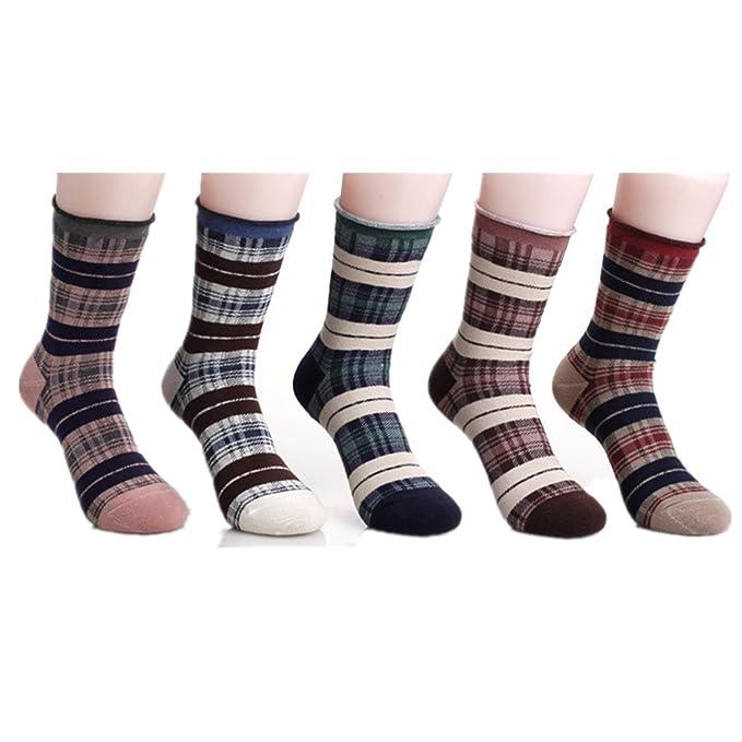 78067c7a Amazon.com: Celine lin Women's Grid Style Cotton Crew Socks,5-Pair ...