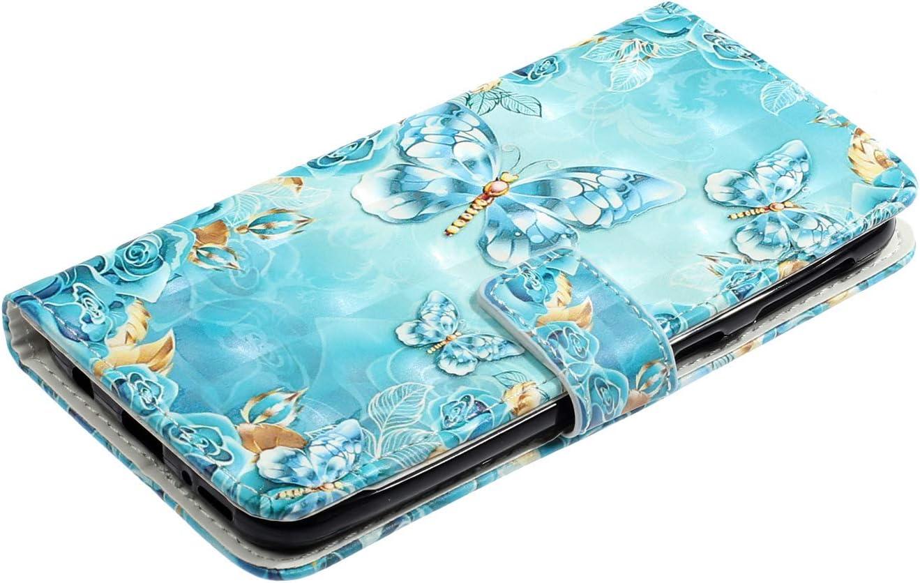 LA-Otter Kompatibel f/ür Huawei P30 H/ülle Blauer Schmetterling Muster Leder Wallet Cover Tasche Handyh/üllen Folio Etui mit Kartenfach Schutzh/ülle Flip Case