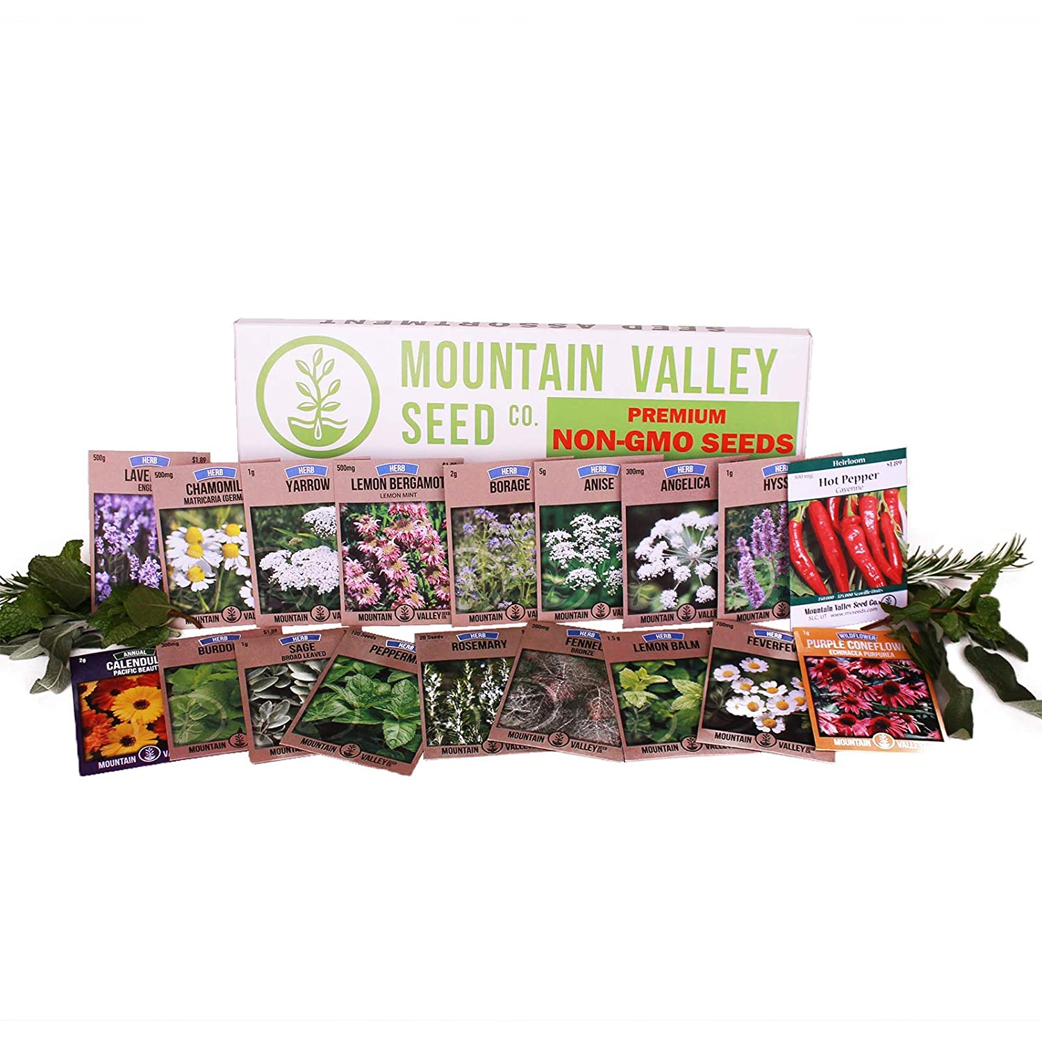 Medicinal & Herbal Tea Garden Seed Collection   Premium Assortment   18 Non-GMO Herb Seed Packets: Angelica, Borage, Cayenne, Burdock, Fever Few, Peppermint, More