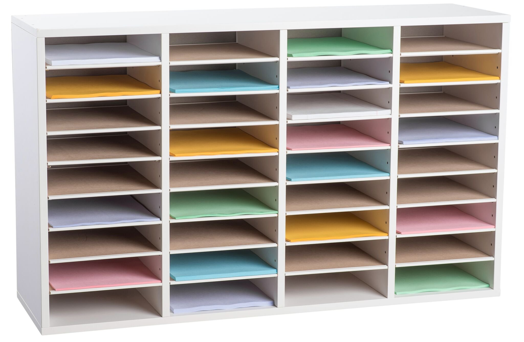 AdirOffice Wood Adjustable Literature Organizer (36 Compartment, White)