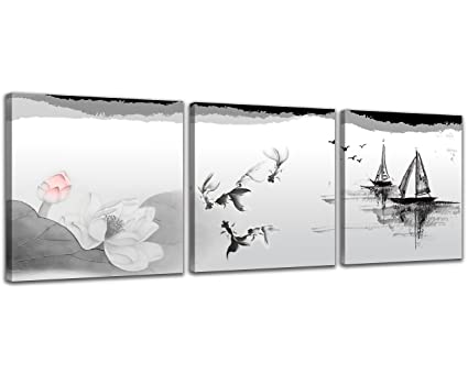Nan wind black and white traditional chinese painting of lotus flowers and birds canvas prints 3