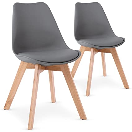 Menzzo Lot De 2 Chaises Style Scandinave Bovary Gris Amazon Fr