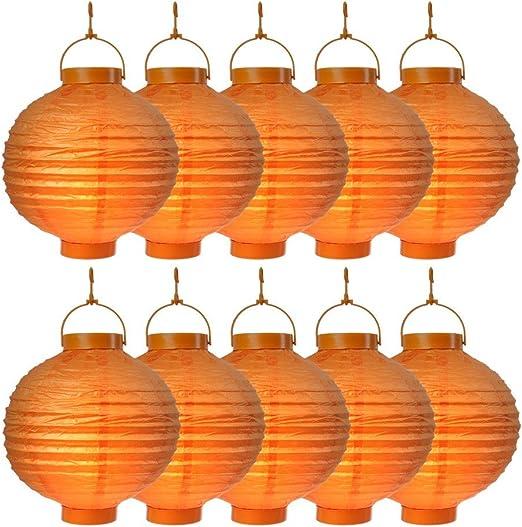 S/o® 10 unidades LED farolillos Naranja Farol farolillo Jardín Balcón Terraza Fiesta iluminación decoración: Amazon.es: Jardín
