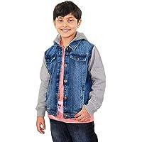 Kids Boys Denim Dark Blue Jacket Fleece Sleeves & Hooded Fashion Jackets Coat
