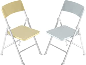 1/6 Scale Folding Mini Chair Dolls Folding Chair Playsets Miniature Furniture Toy Folding Doll Chairs Decoration for Birthday Baby Shower Holiday Festival Present (Gold and Sliver)
