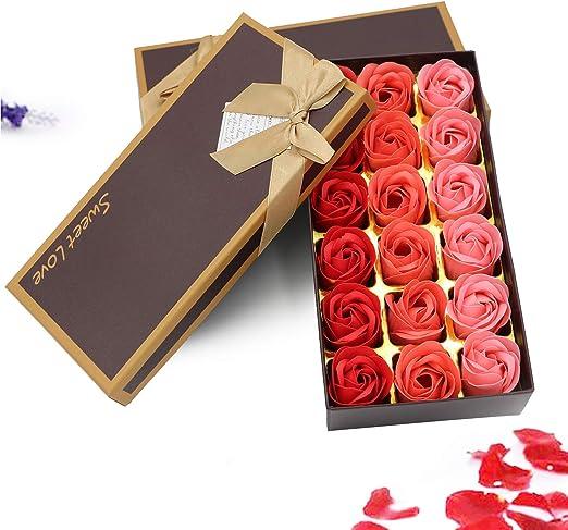 Zehnhase 18 Stücke Rosen Duftseifen In Geschenk Box Floral Duftende Badseife Rose Valentinstag Muttertag Frauentag Hochzeit Geburtstag Memorial Day
