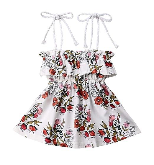 e94be271fbf Newborn Kids Baby Girls Floral Halter Romper Dress Big Little Sister Ruffle  Summer Outfit Clothes
