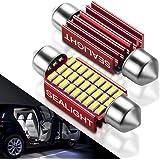 DE3423 Led Interior Lights Dome Light Bulb for Car - SEALIGHT 4014 Chipset Canbus Error Free Nonpolarity 6418 DE3425 36mm 1.5 inches bulbs 6000K Xenon White (Pack of 2)