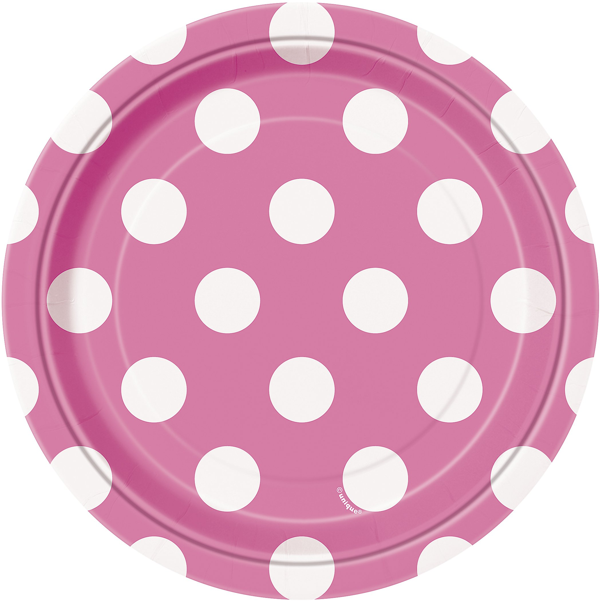 Hot Pink Polka Dot Paper Cake Plates, 8ct by Unique Industries (Image #1)