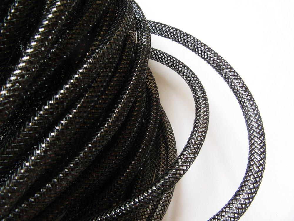 Shinny Black YYCRAFT 15 Yards Solid Mesh Tube For Craft Deco Flex for Wreaths Cyberlox Crin Crafts 8mm 3//8-Inch