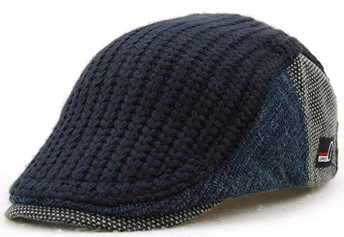 28c81d6f MOTINE Men's Knitted Wool Driving Duckbill Hat Warm Newsboy Flat Scally Cap(Deep  Blue)